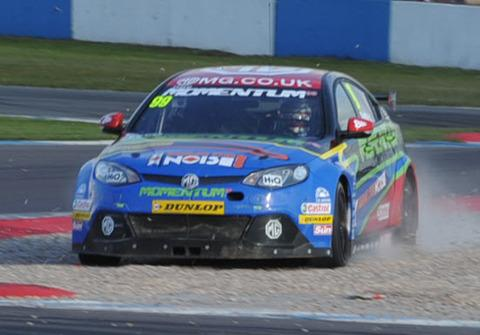 Jason Plato, seen going off the circuit in the last round at Donington Park, expects Thruxton to suit his MG KX Momentum Racing MG6