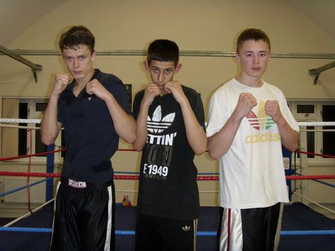 Oxford Boxing Academy's Bradley Townsend (left), Yaser Afzal (centre) and Declan Townsend go for glory in the National ABA Junior Championships in Bristol tomorrow, having each won their bouts at Oxford Boxing Academy's dinner