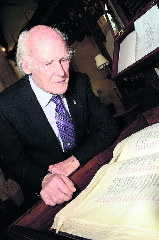 Dennis Mayo, 84, at last year's Turning the Pages service