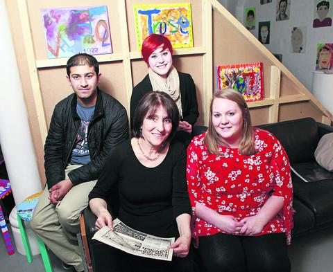 Former Art Room members Adil Rauf, Mojo Turan and Laurel Cherrie with Juli Beattie, front left