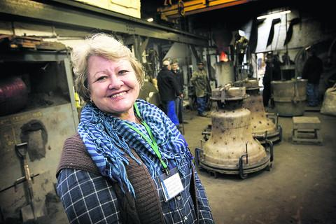 Lee Mackie at the casting of the Carterton Memorial Bell in London yesterday