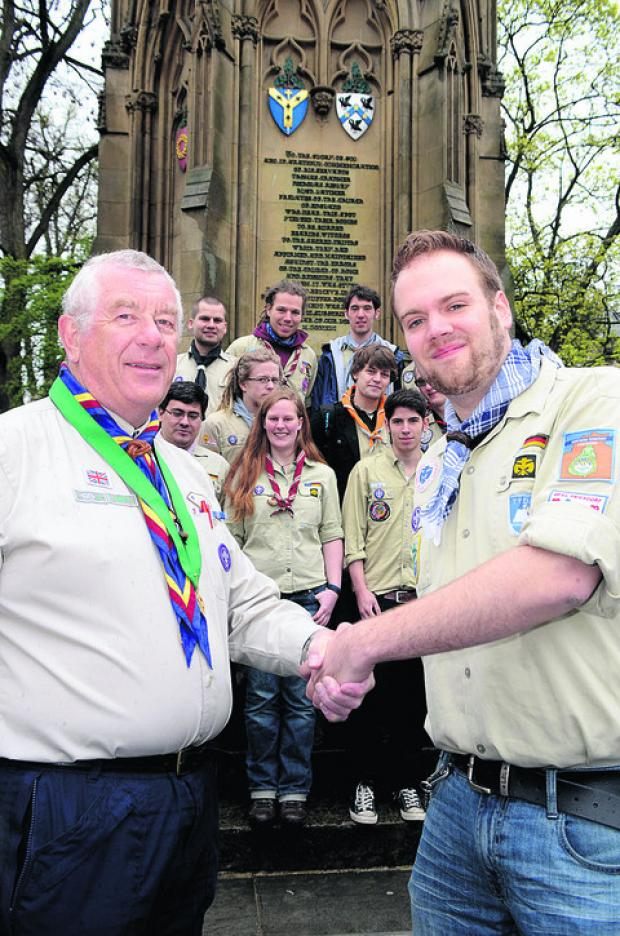 The Bonn Scouts are welcomed to Oxford by assistant county commissioner Bill Butcher