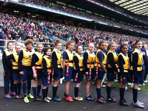 Cherwell's girls prepare to step out on to the Twickenham pitch