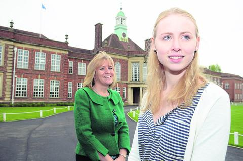 German sixth-form student Anna Herrmann with Headington School headteacher Caroline Jordan
