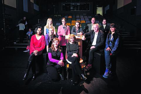 Back row, from left: Helen Etty, Oxford City Poet Kate Clanchy, Thomas Chadwick, senior lecturer James Hawes, literary agent Caspian Dennis. Middle row, from left: Mrinalini Patnaik, Megan Price, author and creative writing fellow at Brookes, Philip Pullm