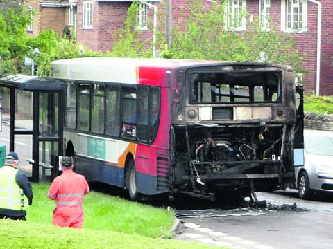 The X30 caught fire in Kenilworth Road yesterday