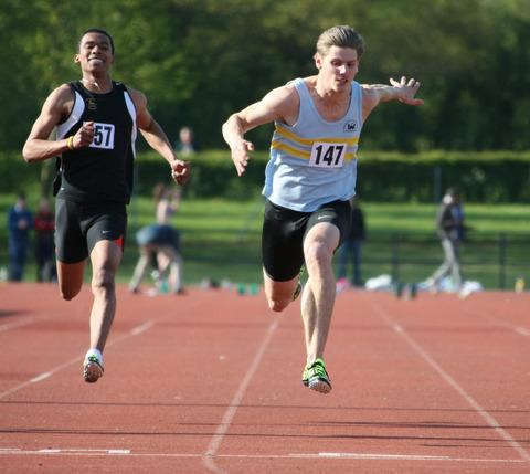 Lawrence Clarke on the way to victory in the 100m at the Oxfordshire Championships