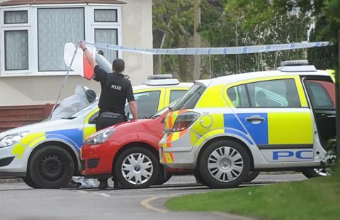 Police at the scene in Horspath this morning