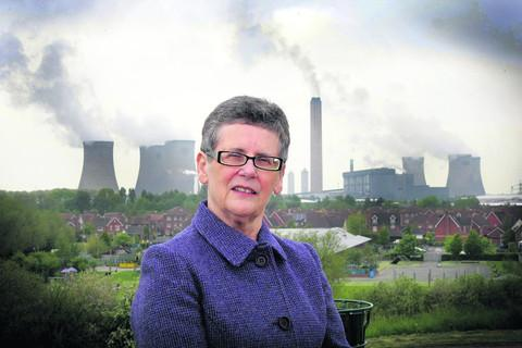Town council leader Margaret Davies pictured in front of Didcot A power station
