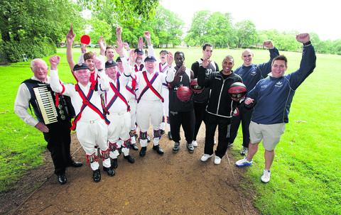 Representatives of Headington Quarry Morris Dancers, Oxford University Rugby Football Club, Fusion Lifestyle and Active Women and Oxford Hoops basketball team, who will all be taking part in the event at South Park