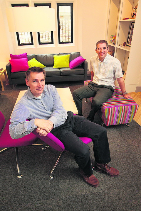 Tim Rudge, left, and Tim Adams in the reception area at the new Christian centre opening in Blue Boar Street