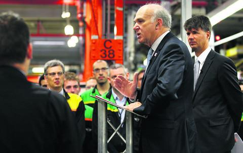 Dr Vince Cable addresses employees at the Mini plant in Oxford, as Mini announced a further £250m investment in the MINI production network