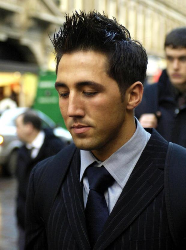 Gavin Henson leaves an RFU disciplinary hearing in 2005. He was banned for ten weeks and two days for striking Leicester's Alex Moreno