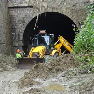 The Beaminster Tunnel where a car which was buried by a landslide