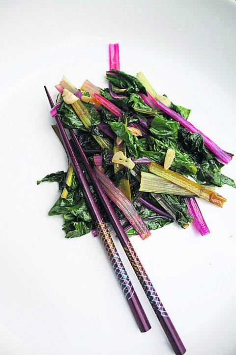 Fuchsia Dulop's recipe for smothered rainbow chard
