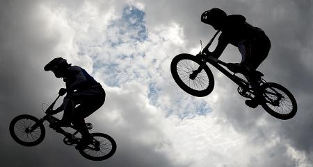 Jumping for joy: the men's and women's BMX competitions have provided some spectacular action on two wheels...