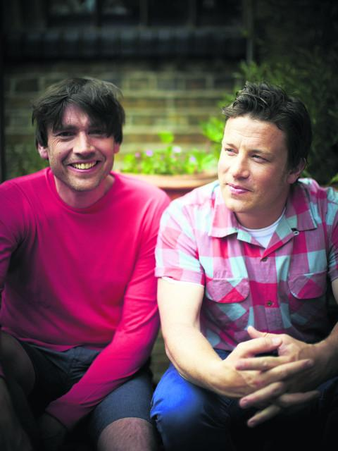 Alex James and Jamie Oliver