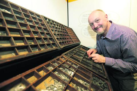 Oxford University Press archivist, Dr Martin Maw in their revamped museum. Picture: OX53907 Damian Halliwell