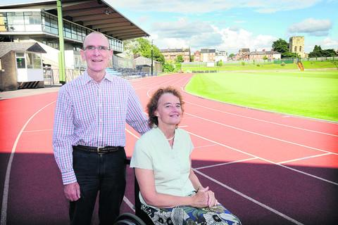 Gary and Kathy Critchlow-Smith at the Iffley Road running track