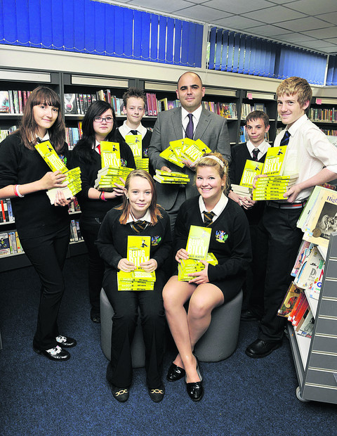 Left to right, front Georgina Harriss and Bronwyn Peatman. Back Yasmin Cammish, Charlie Rogers, Will Partlett, Chris Davies, Ben Bridges and Dan Bullen at Carterton Community College