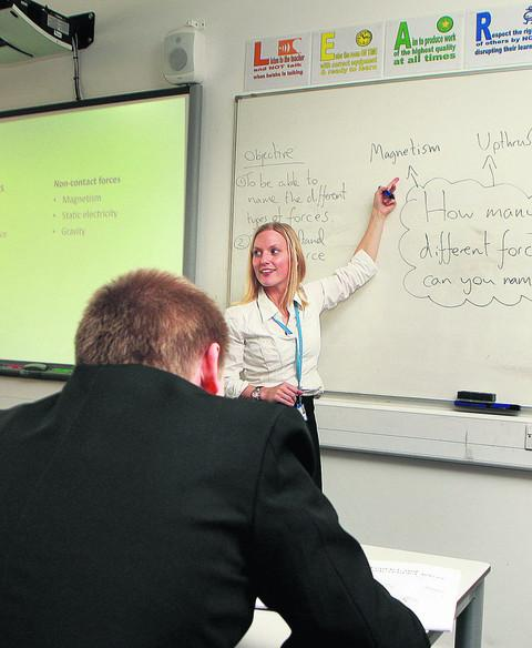 Caroline O'Connor back in the classroom at the Oxford Academy