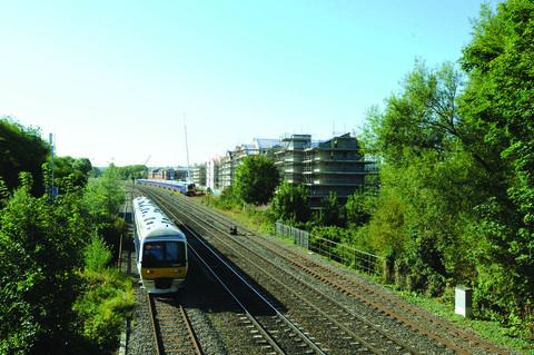 The new university blocks, pictured from the railway bridge near Walton Well Road