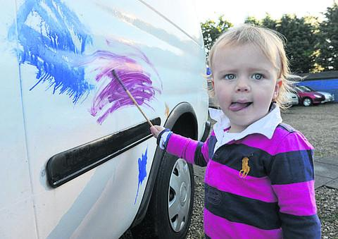 Ruby Spengler enjoyed decorating the side of a van donated by Hughes's scrap yard, indulging in the chocolate fountain and then dancing in the disco