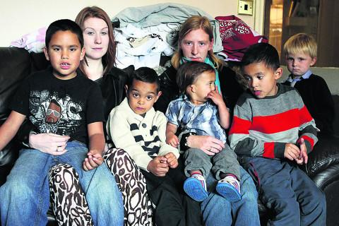 Gemma Harris, left, and Sarah Craft with, from left, AJ, seven, cousin Jake, six, Cory, two, cousin Kyle, seven, and Sarah's son Kaden, four  Pictures: OX54837, OX54840 Ric Mellis, Antony Moore