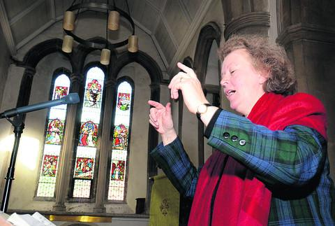 Conductor Sally Mears at the workshop held at Oxford's St Giles' Church