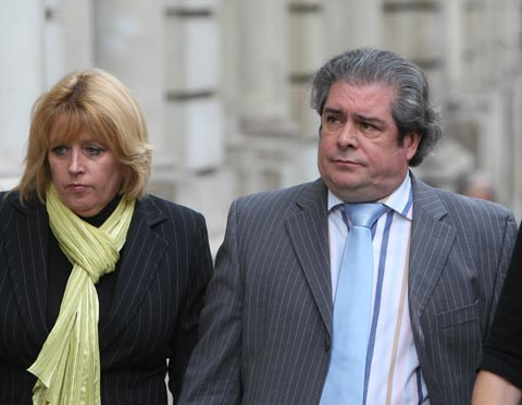 Sian O'Callaghan's dad Mick O'Callaghan pictured with his partner Debbie arriving at court today