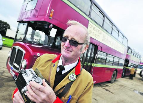 Bus conductor Derek Bloomfield was showcasing a 1967 AEC Renown bus