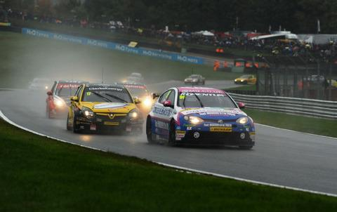 Jason Plato (front) in action at Brands Hatch where his title hopes disappeared Picture: Lee Foxon