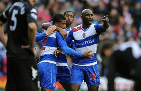 Garath McCleary (left) celebrates with his Reading teammates after scoring