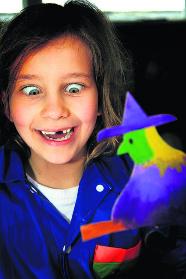 Lily Denton gets into the spooky spirit with a  painted  witch in Pottering About at Blenheim Palace