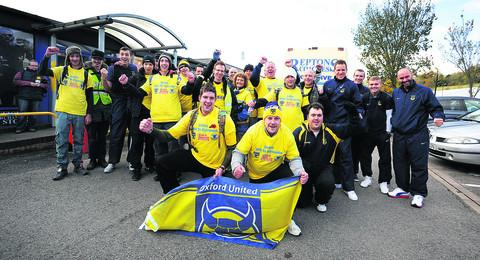 The walkers celebrate reaching Wycombe last Saturday, along with United's players  Picture: Jon Lewis