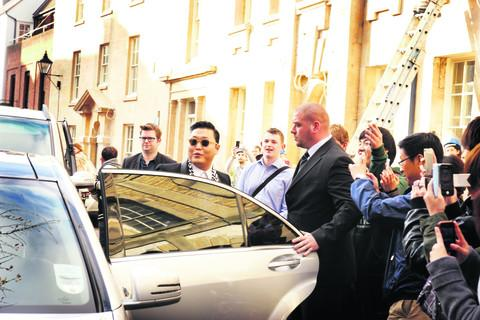 Psy outside the Oxford Union