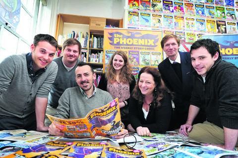 Pictured with the latest Phoenix issue are, left to right, designer Laurence Beck, deputy editor Will Fickling, editor Ben Sharpe, head of PR Lizzie Payton, Caro Fickling, financial director John Dickinson, and sales and marketing manager Ross Fraser