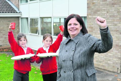 Scarlett Hawkins, Jess Holden and headteacher Alison Holden