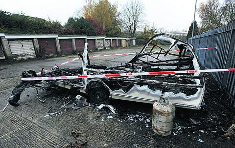 The caravan which was set alight following the blast