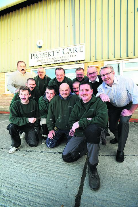 Damian Orman, front right, and his colleagues at Property Care Complete Maintenance Ltd have been taking part in the Movember charity moustache-growing fundraiser for his grandfather John Aldworth, proprietor of Autowork garage in Jericho