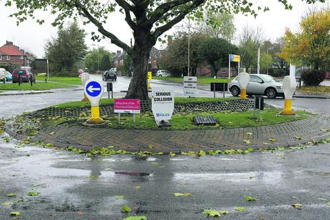 The roundabout at the junction of Foxhall Road and Broadway in Didcot, where Paul Welch was involved in a collision with a Renault Megane