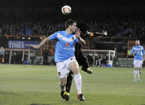 Jonny Mullins in action for the U's at Barnet