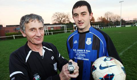 Record goalscorer Chris Murphy with referee Drew Warren after they re-inacted the event