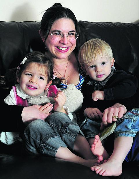 Karen Hancox, of Oxfordshire Sands, with her children Charleigh and Konnor