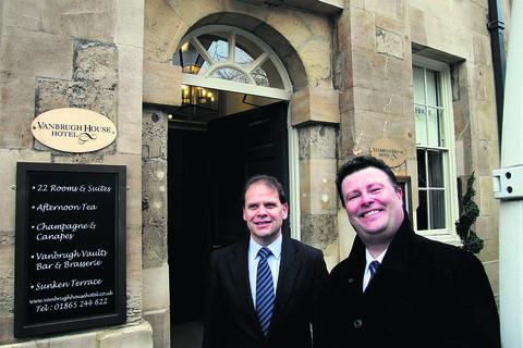 Clive Viner, left, and Colin Rice outside the new hotel in St Michael's Street, Oxford