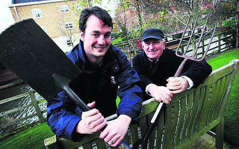 Lew Fryer, of GreenSquare, and resident Philip Weatherburn in the garden at Rackham Place Oxford