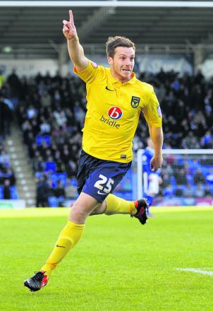 Johnny Mullins celebrates scoring against Chesterfield last weekend