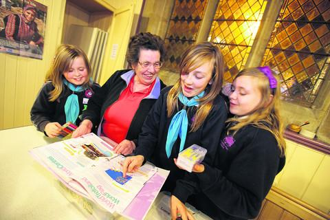Former Guider Bernice Rye with, left to right, Beth Phasey-Manclark,12, Poppy-Louise Barton, 11, and Holly Surman, 12