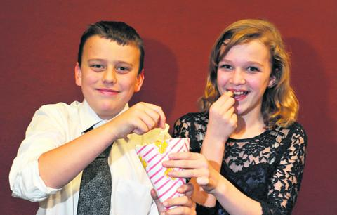 Myles Greatbatch, 11, and Libby Pritchard, 11, at the premiere of The Cherwell Incident