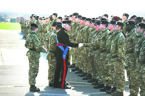 Inspecting officer HRH The Duke of Gloucester at the Medal Parade at Dalton Barracks to honour troops of 4 Logistic Support Regiment of the Royal Logistic Corps